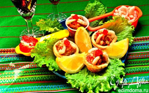 Рецепт Корзиночки с авокадо, креветками и икрой