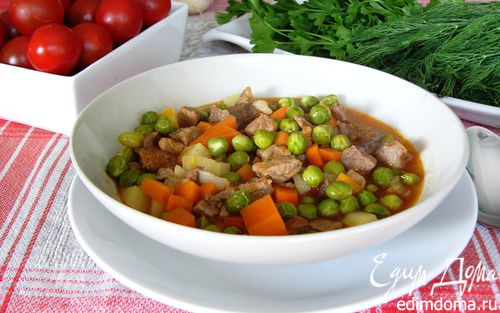 Рецепт Рагу из зеленого горошка с мясом