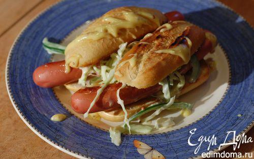 Рецепт Хот-доги с зелеными овощами и горчичным майонезом