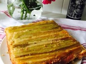 Мой пирог с ревенем или Upside down buttermilk cake with almond streusel
