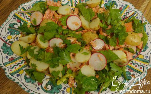Рецепт Салат с молодым картофелем, редисом и кижучем