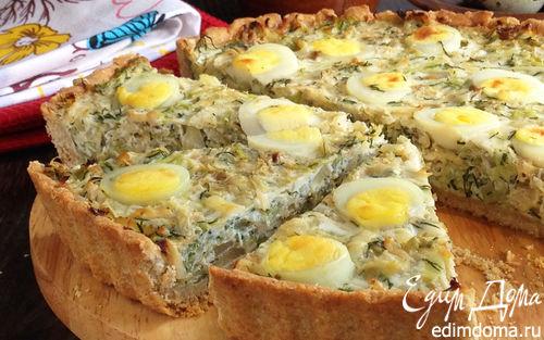 Рецепт Киш из цельнозерновой муки с капустой и яйцом