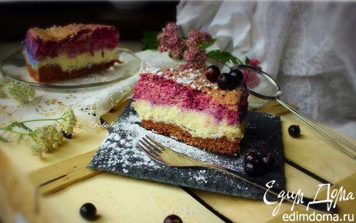 Рецепт Трехслойный творожно-ягодный торт