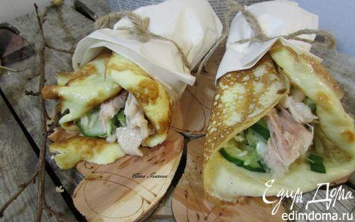Рецепт Роллы с яичных блинчиков с курицей и салатом