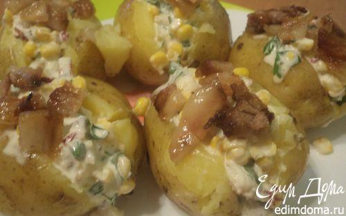Рецепт Молодой картофель, фаршированный беконом и кукурузой