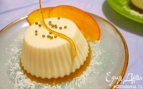 Рецепт Лимонная панна котта на апельсиновом желе