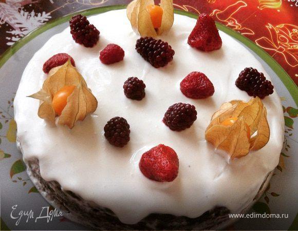 Торт из черемуховой муки со сметанным кремом