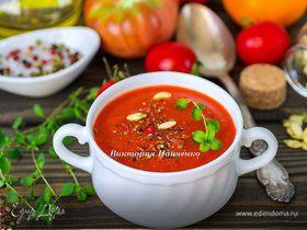 Суп-пюре из запеченных перцев с апельсиновым соком