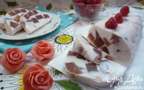 Рецепт Клубничные кубики с ванилью в йогуртовом желе