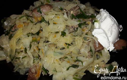 Рецепт Капуста с куриной печенью и сердечками