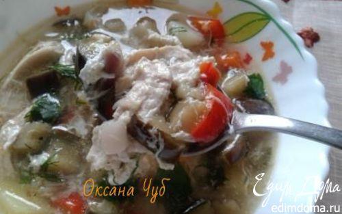 Рецепт Суп куриный с баклажанами и яйцом