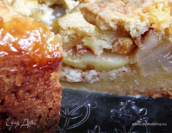 Песочный пирог с яблоками и заварным кремом