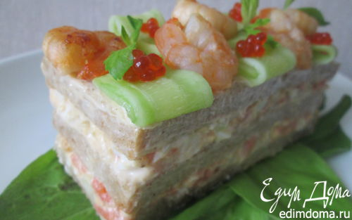 Рецепт Исландский сэндвич с лососем и креветками