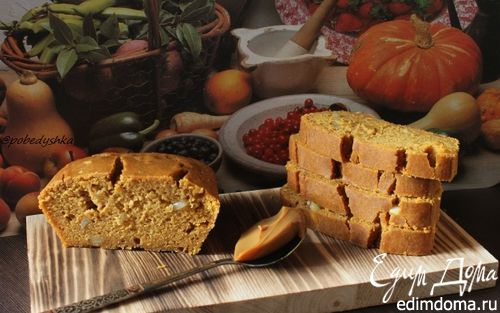 Рецепт Тыквенный кекс на вареной сгущенке с арахисом