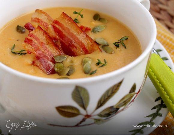 Тыквенно-картофельный суп-пюре с беконом