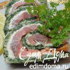 Рулет с лососем и зеленью
