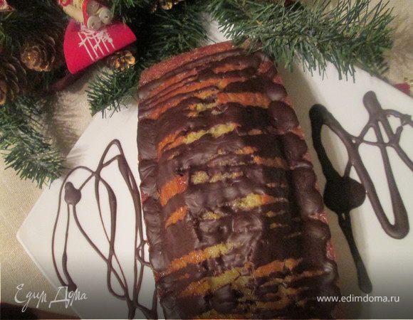 Апельсиново-карамельный кекс в шоколадной глазури