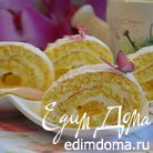 Бисквитный рулет с манго и сметанным кремом