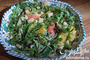 Теплый салат из макарон с цитрусовыми и мятой
