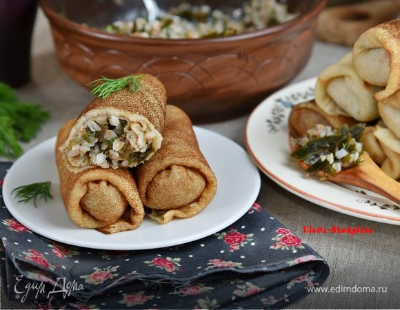Постные блинчики с гречкой и морской капустой