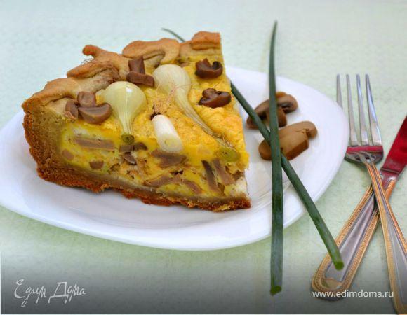 Пирог с молодым луком и грибами