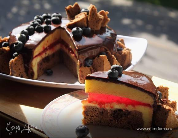Лимонно-шоколадный муссовый торт