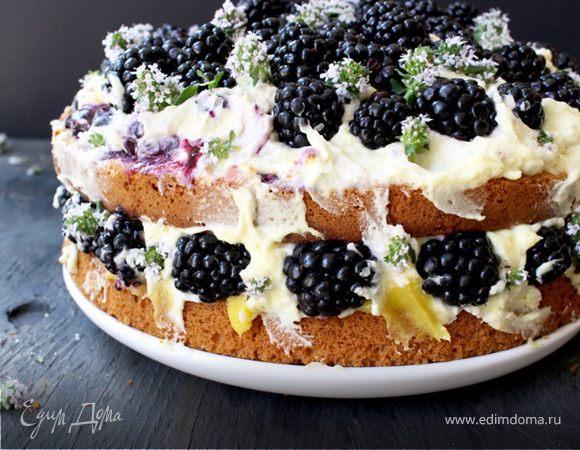 Итальянский лимонный торт с маскарпоне и ягодами