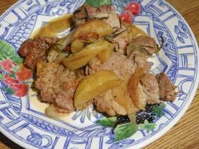 Свинина с яблоками, шалотом и тархуном