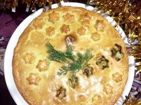 Пирог на майонезе с курицей, капустой и грибами