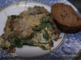 Омлет с грибами, руколой и голубым сыром