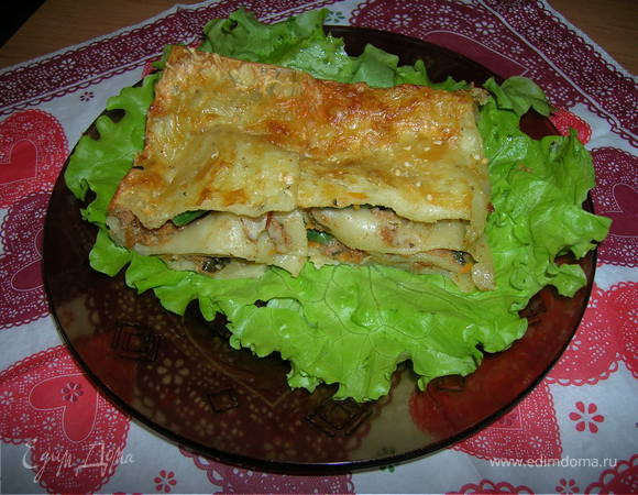 Лазанья мясо-шпинатная