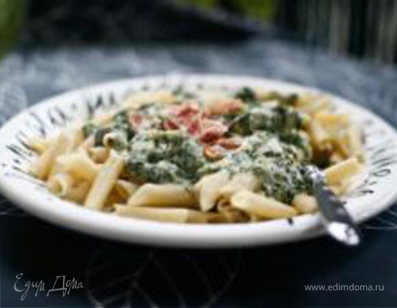 Макароны со шпинатом и сыром горгонзола