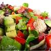 Салат с фрикадельками из тунца в кунжуте