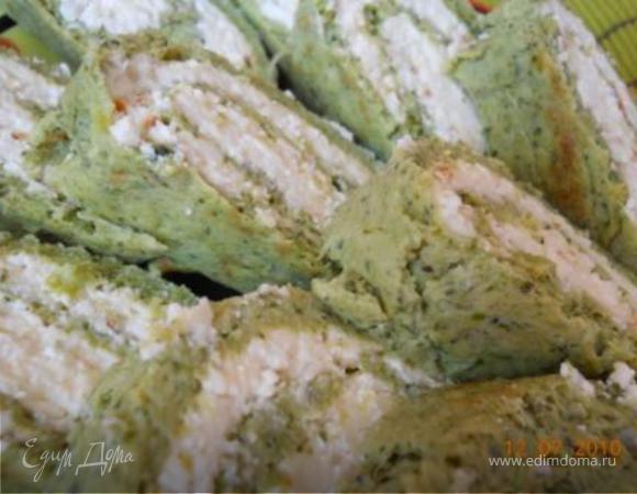 Рулет из брокколи с пикантно-нежной начинкой