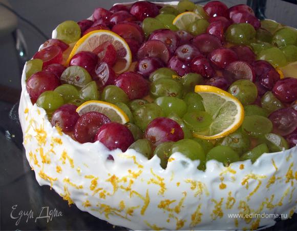 """Торт с начинкой """"сабайон"""" и виноградом"""