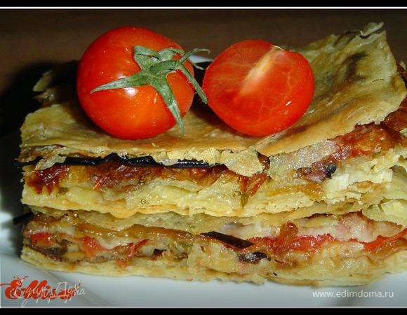 Пирог из лаваша с баклажанами, помидорами, грибами и сыром