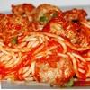 Спагетти с паровыми тефтельками под томатным соусом
