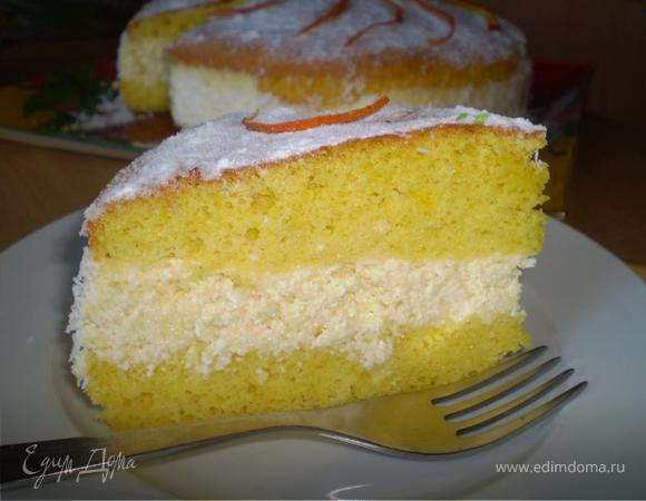 Легкий бисквит с апельсиново-творожным кремом