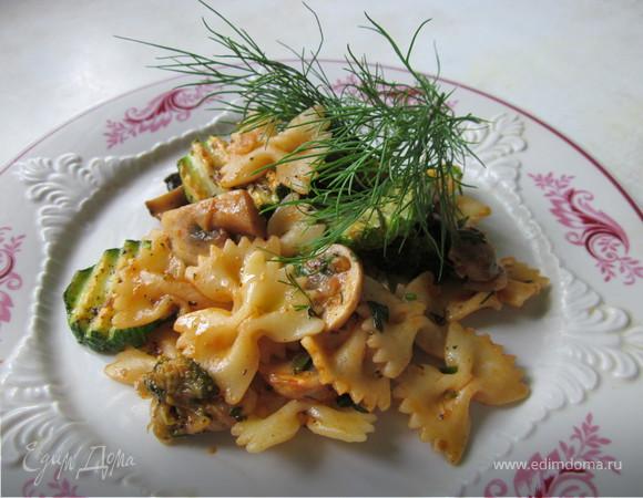 Паста с грибами и овощами