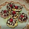 Мраморный чизкейк с малиной и персиками