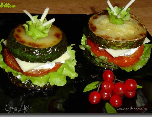 """Закуска из овощей, творога и сыра """"Башенки"""""""