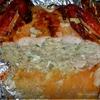 Курица фаршированная печеночными блинами с рисом и грибами