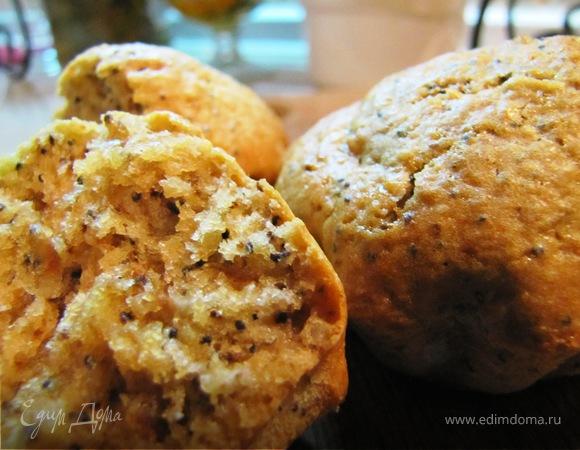 Кексы с яблоком, орехом и маком