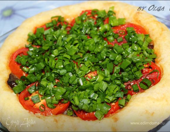 Грибной ПИРОГ с помидорами в СВЧ
