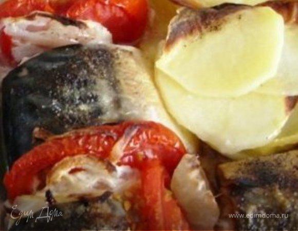 Скумбрия запечёная с овощами