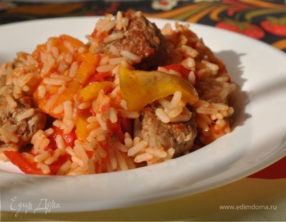 Котлетки-фрикадельки с рисом и овощами