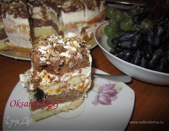 Двухцветный бисквитный торт..