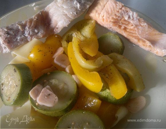 Рыбный микс Горбуша и Сайра, овощи и итальянские парппадели