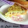 Пирог с курицей и беконом под овощным суфле.