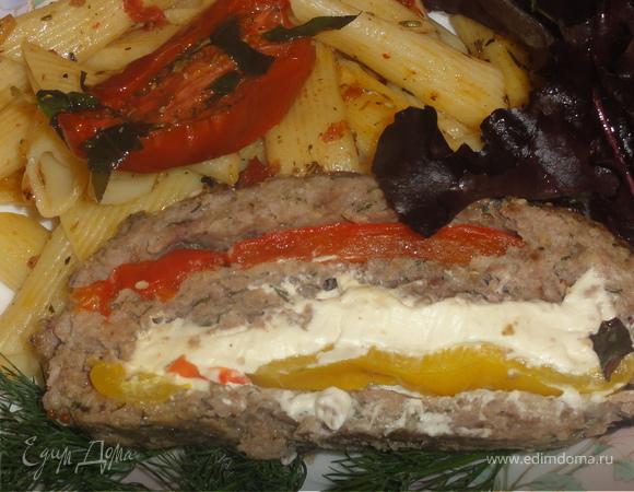 Мясной многослойный хлебец. Пенне с вялеными помидорами.
